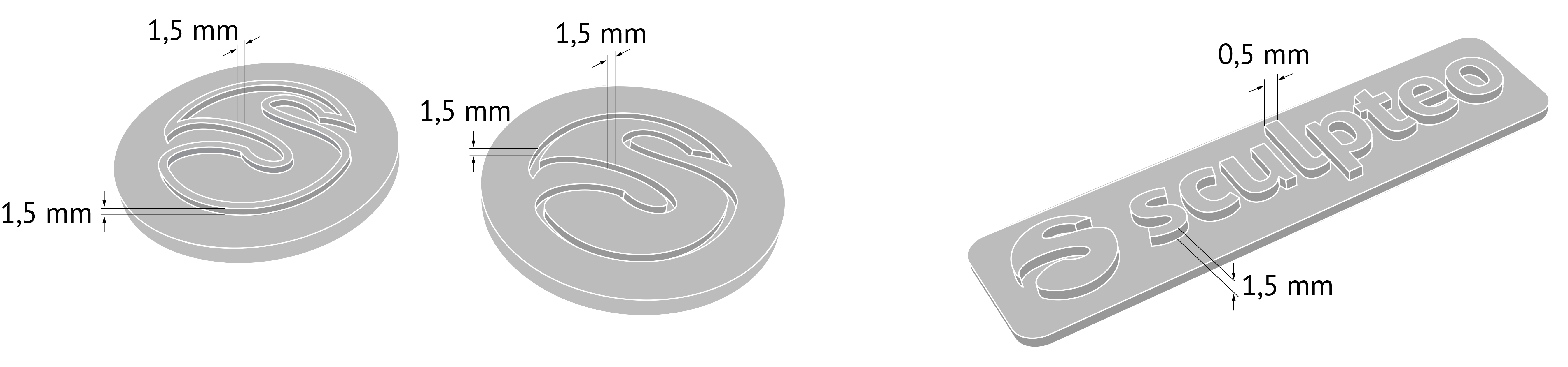 Diagram to show the etching and embossing depths for 3D printed Flexible_plastic