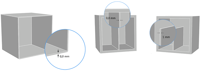 Diagram to show the minimum thicknessof your 3D print model