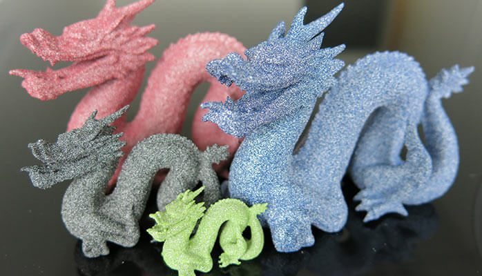 3d printed dragons in colored alumide